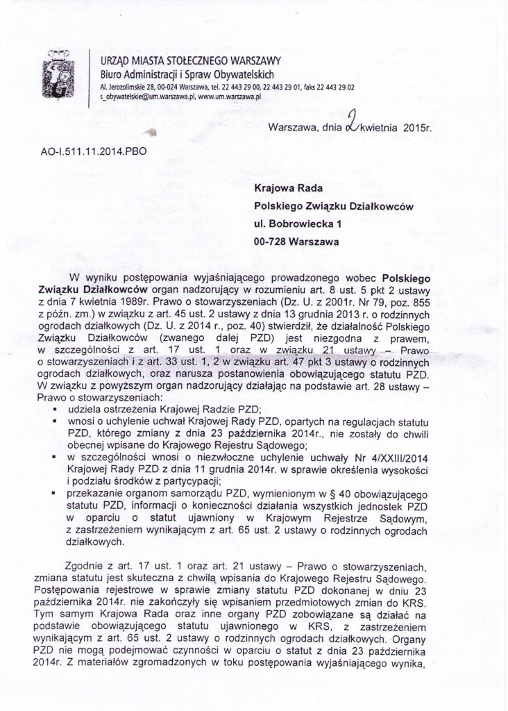 Urząd Miasta w Warszawie do _Krajowej Rady PZD (1)